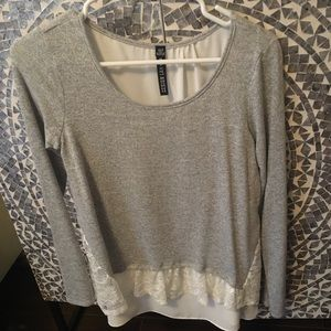 NWT Grey Faux Layered Top